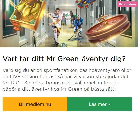 Hämta casino bonus på Mr Green då Cashmio är borta!