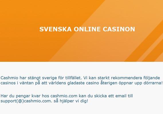 Cashmio Casino har tackat för sig!