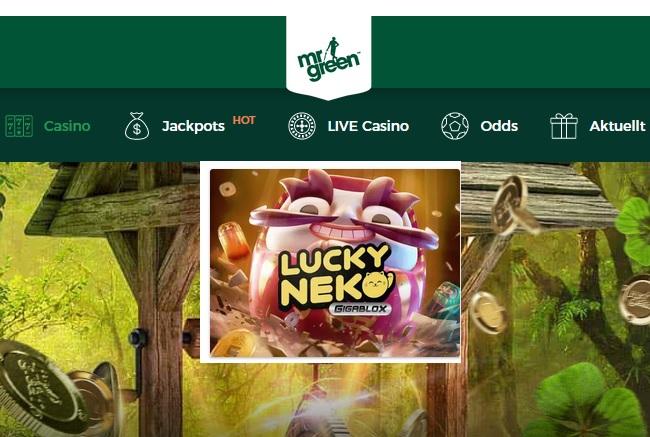 Spela Lucky Neko: Gigablox hos Mr Green Casino!